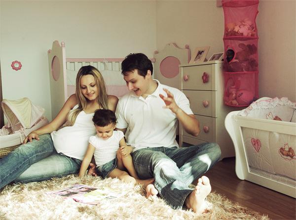 family in child's bedroom